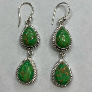 Green Copper Turquoise 2 Drop Earrings Handmade